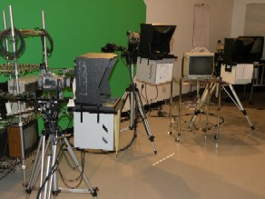 Cameras, Teleprompters, Chroma Key Wall